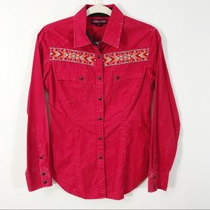 Rock & Roll Cowgirl Red Pearl Snap w/ Embroidery